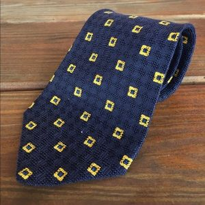 Charvet Silk Knit Tie Blue with Gold Squares